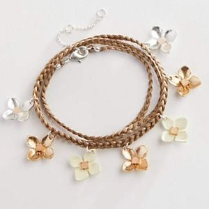 J.Jill Painted-Flowers Wrap Bracelet NWT